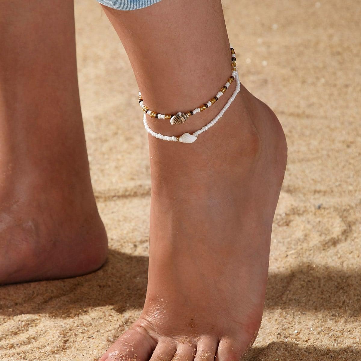 SHEIN / Fußkett mit Muschel Dekor und Perlen 2 Stücke
