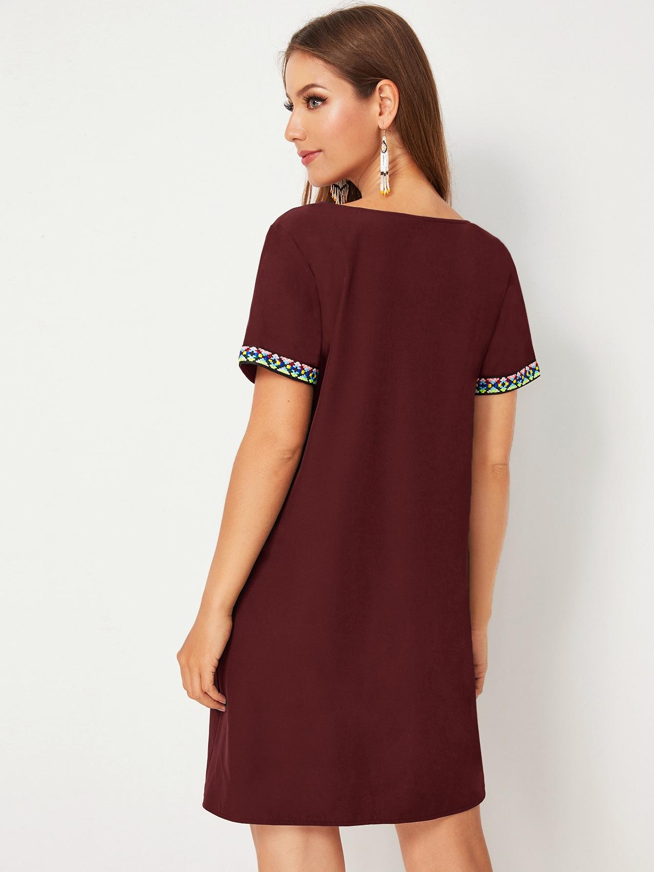 SHEIN / Vestido ajustado ribete con cinta en contraste