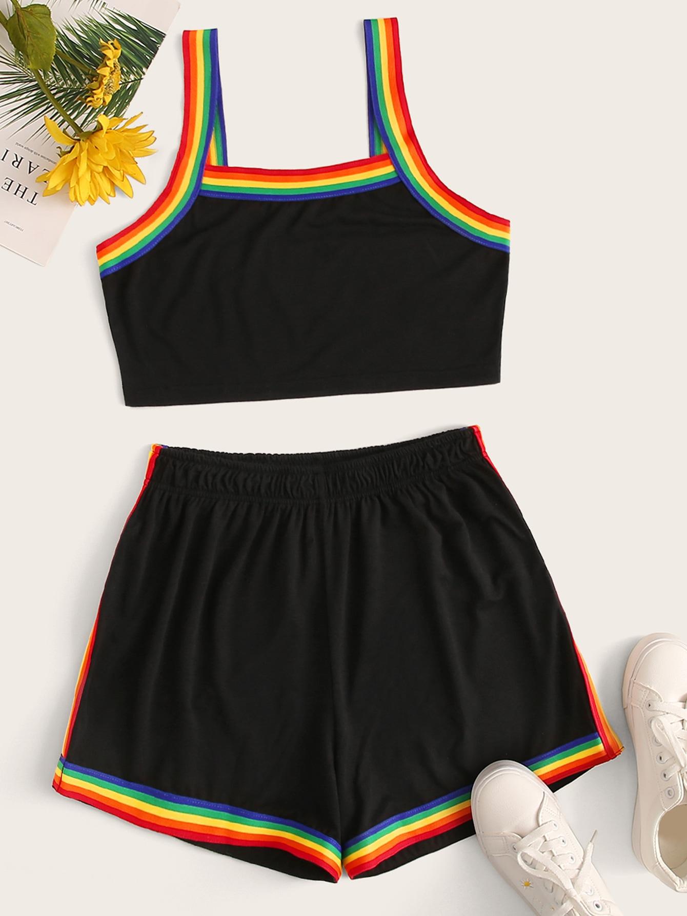 Rainbow Stripe Trim Tank With Shorts Set