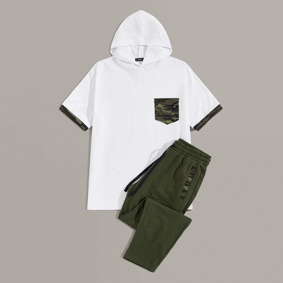 Мужские толстовка с камуфляжным карманом и спортивные брюки от SHEIN