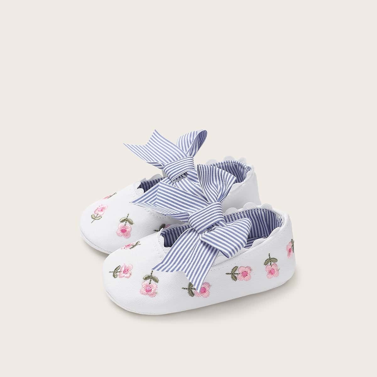 Блок Цветов лук Полосатый Удобный Балетки для малышей от SHEIN