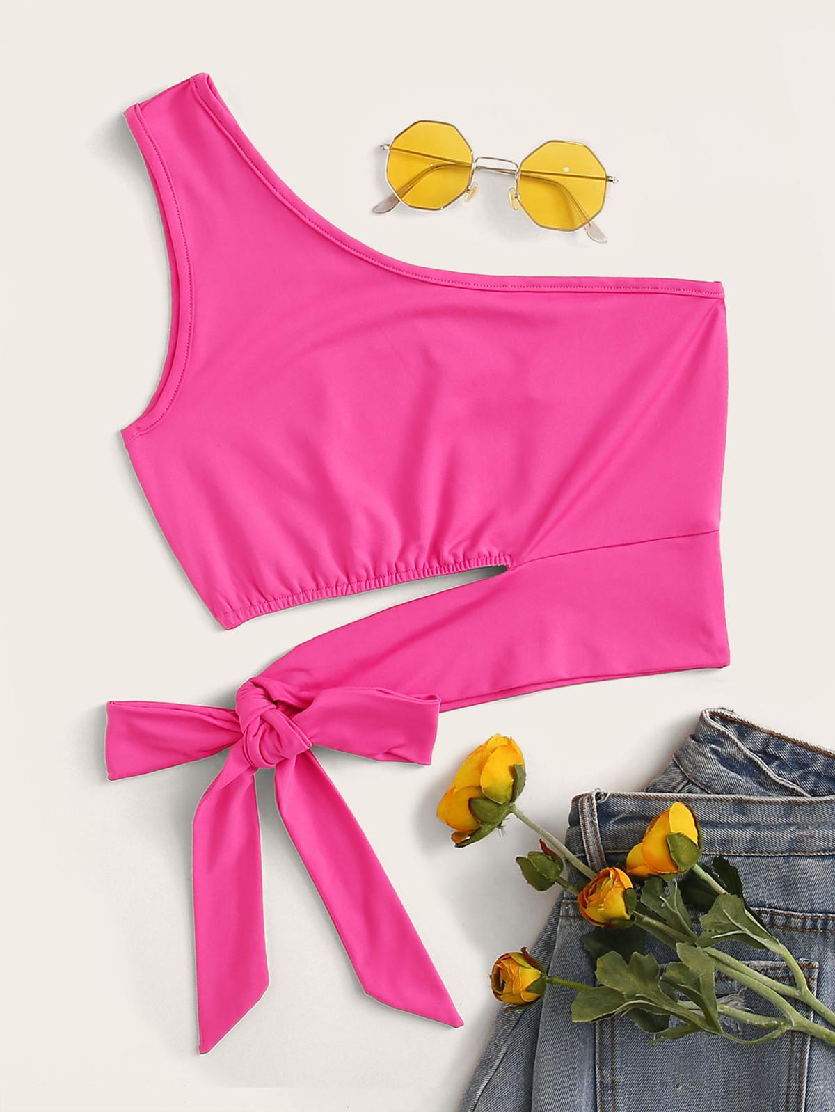 氖粉紅色  單肩 繫帶式 上衣