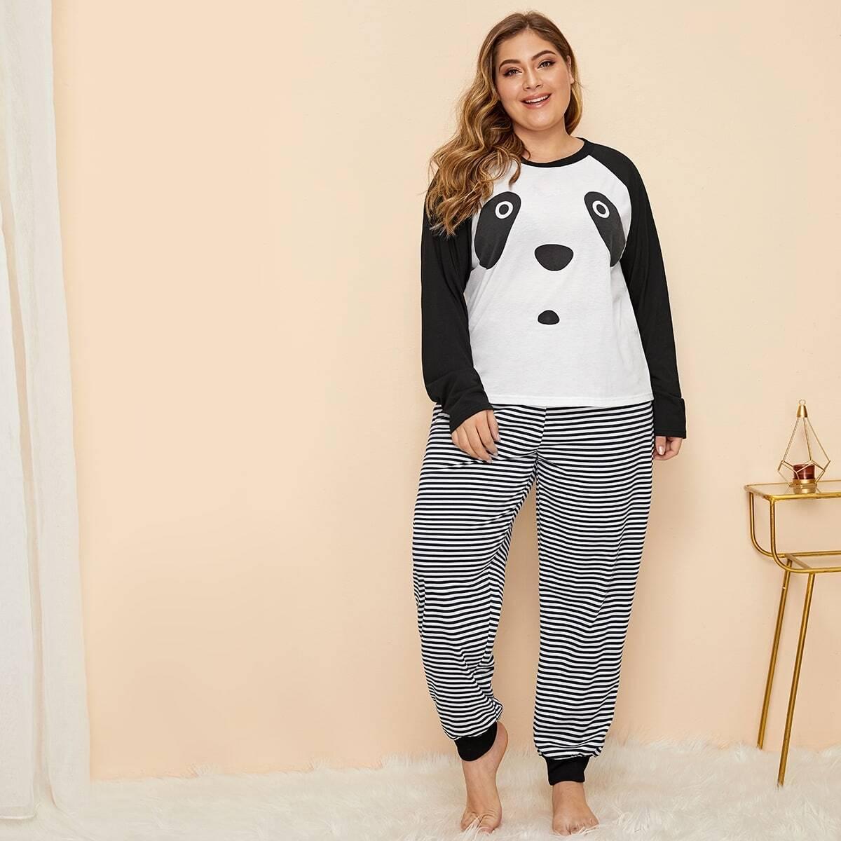 Plus panda en gestreepte pyjama set