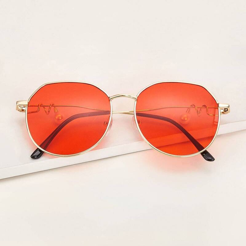 Metal Frame Tinted Lens Sunglasses With Case, Orange
