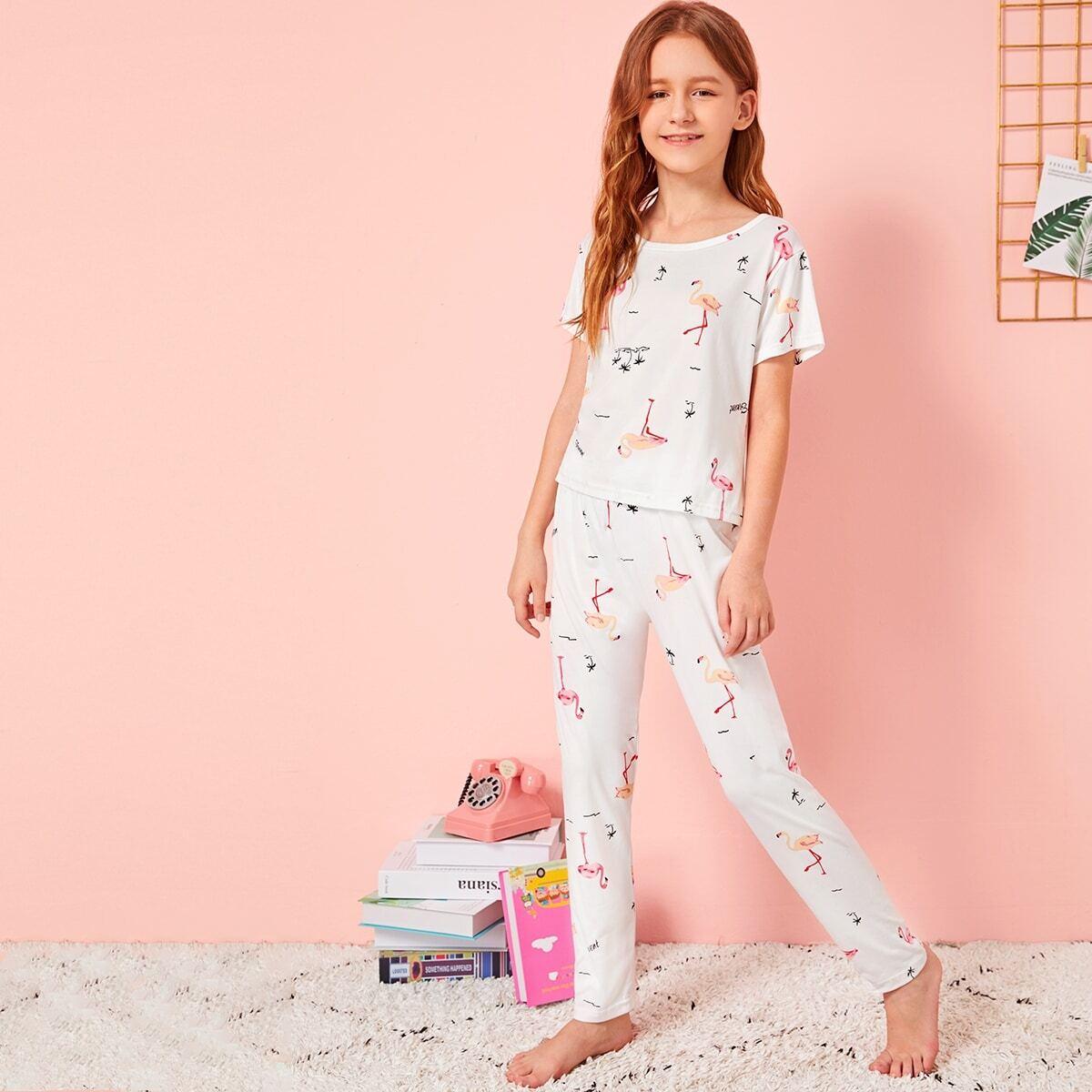 Пижама с графическим принтом и маска для глаз для девочек от SHEIN