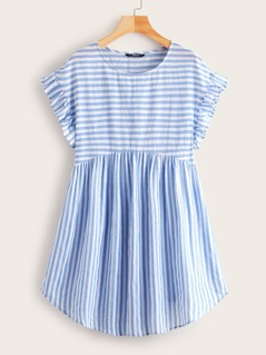 Ruffle Cuff Curved Hem Striped Smock Dress