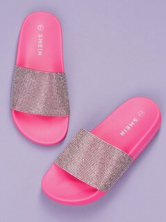 Diamante Crystal Band Footbed Sole Slide Sandals
