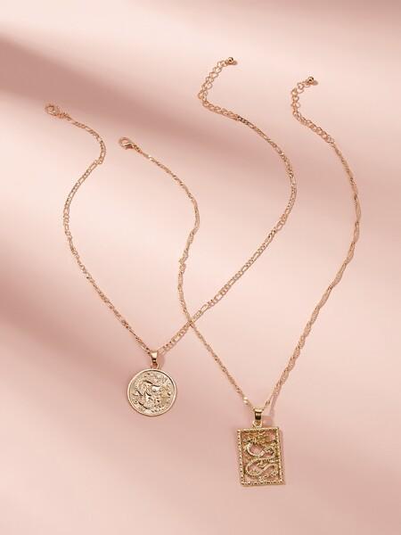 Dragon Coin Pendant Necklace 2pcs