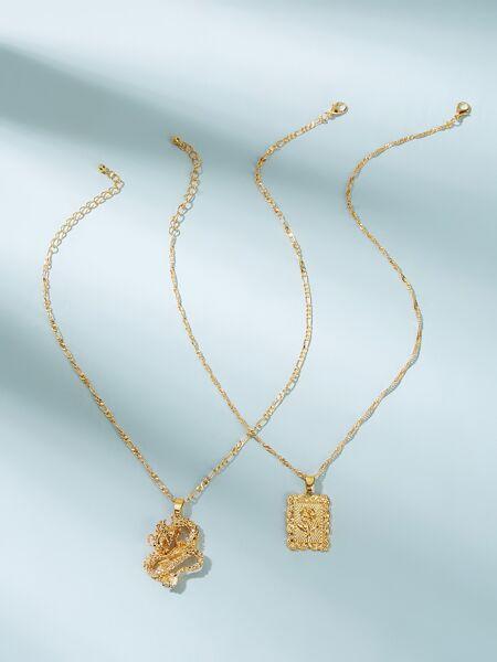 Dragon Pendant Necklace 2pcs