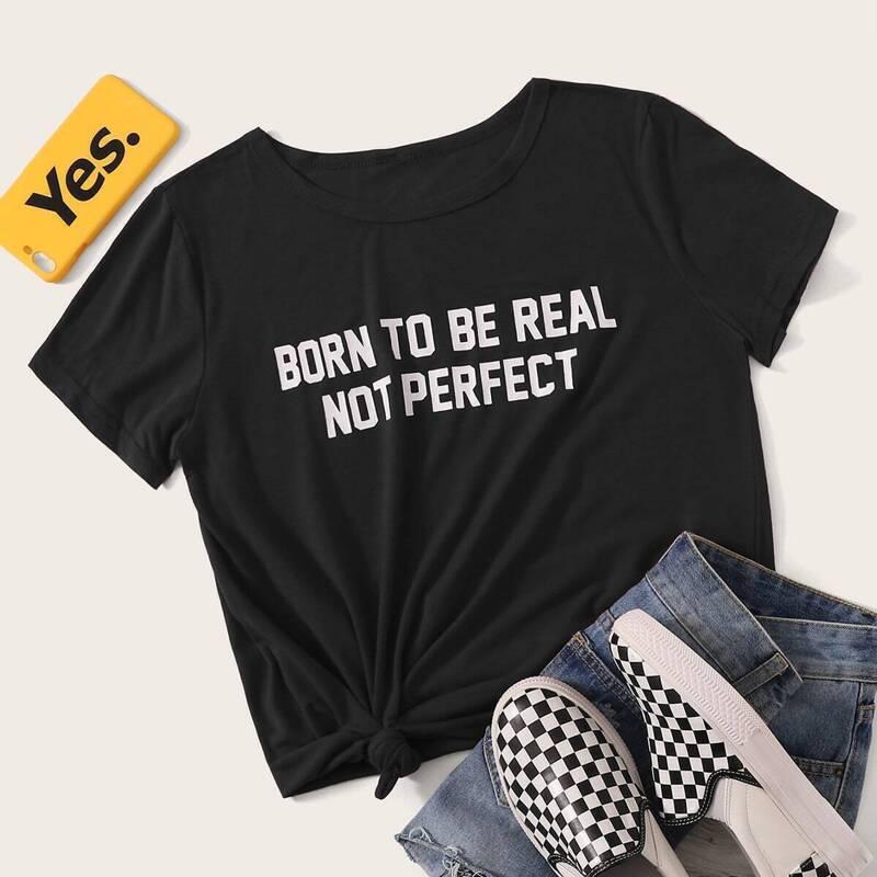 Slogan Print Tee, Black