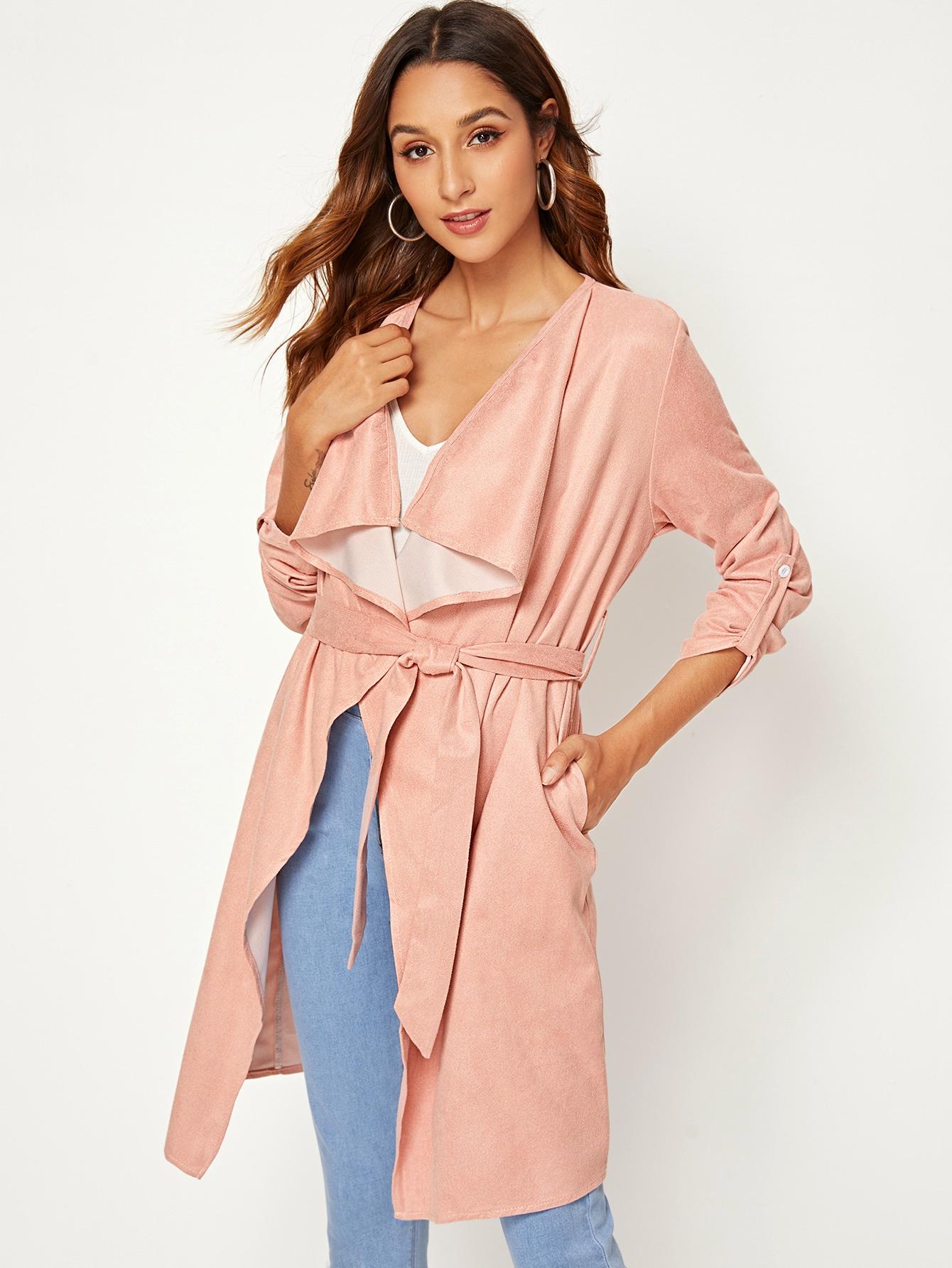 Замшевое пальто с каскадным воротником