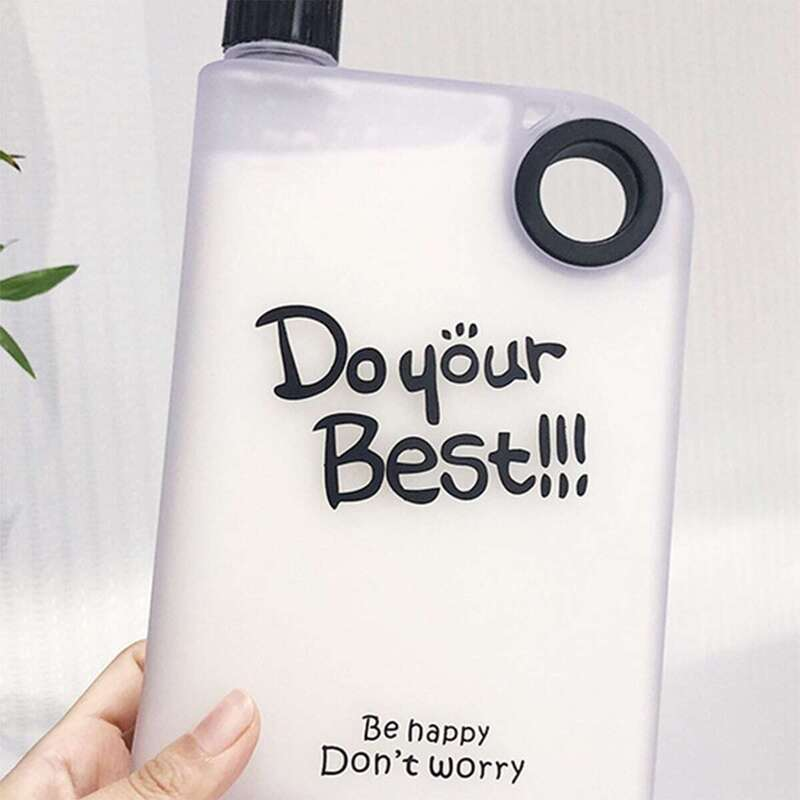 Slogan Print Flat Water Bottle 1pc, Multicolor