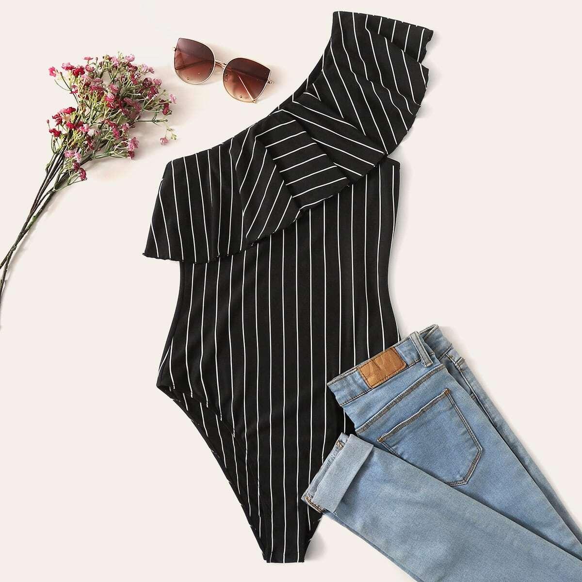 Zwart & wit Sexy Gestreept Bodysuits grote maten Rimpeling