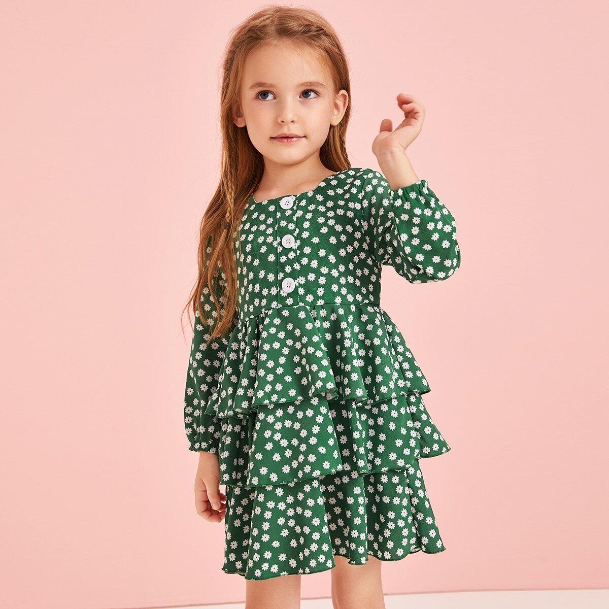 Groen Schattig Vrolijke Bloemetjes Kleutermeisjes jurkjes Knoop