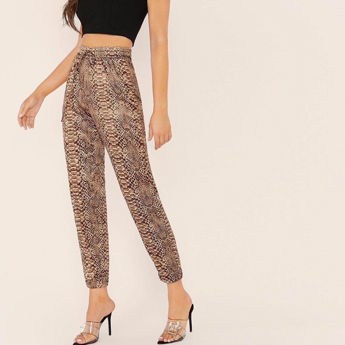 SHEIN / Pantalones con estampado de piel de serpiente de cintura con cordón