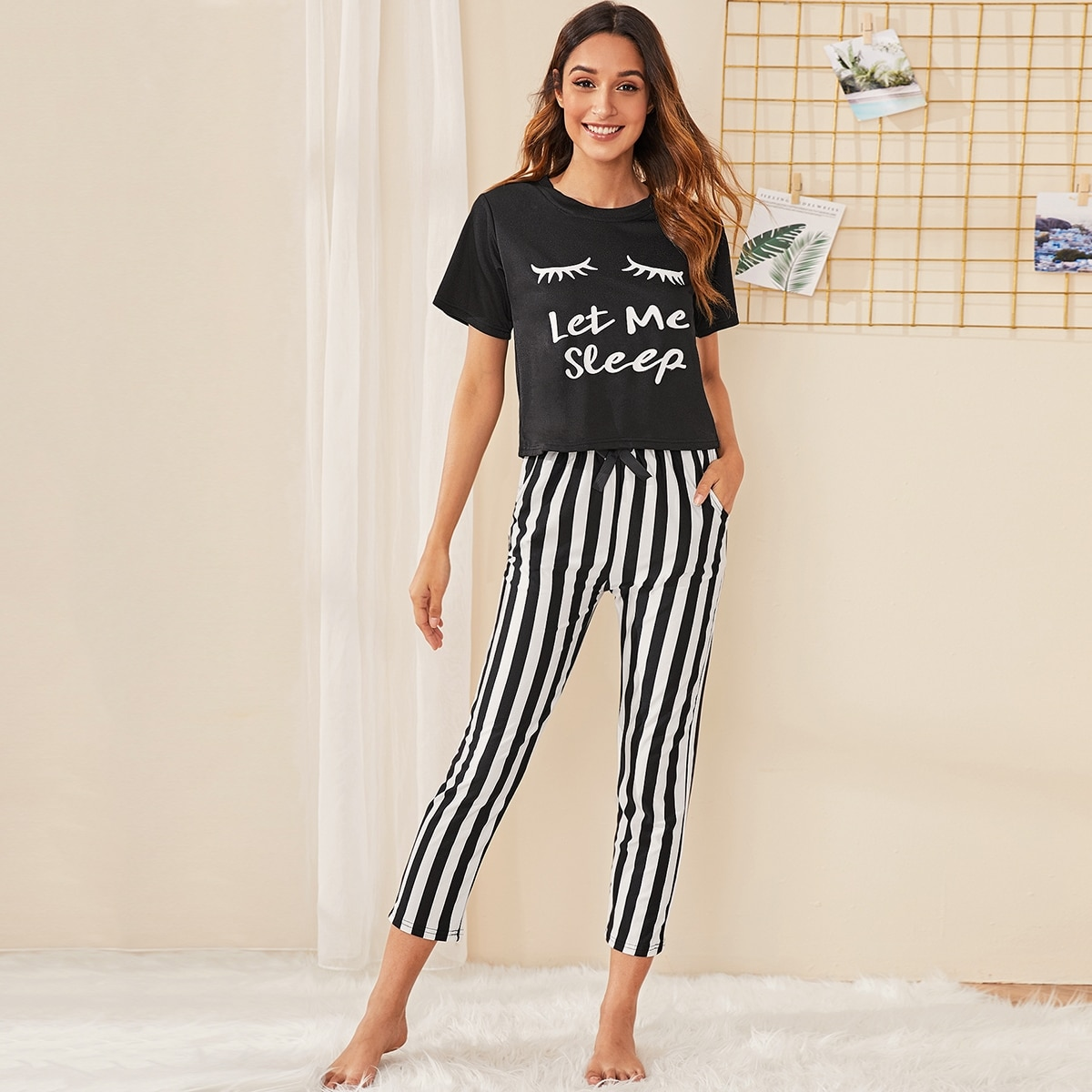 Zwart & wit Casual Gestreept Lounge kleding