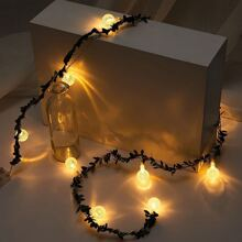 10pcs Ball Shaped Bulb String Light With Artificial Vine 1.5M