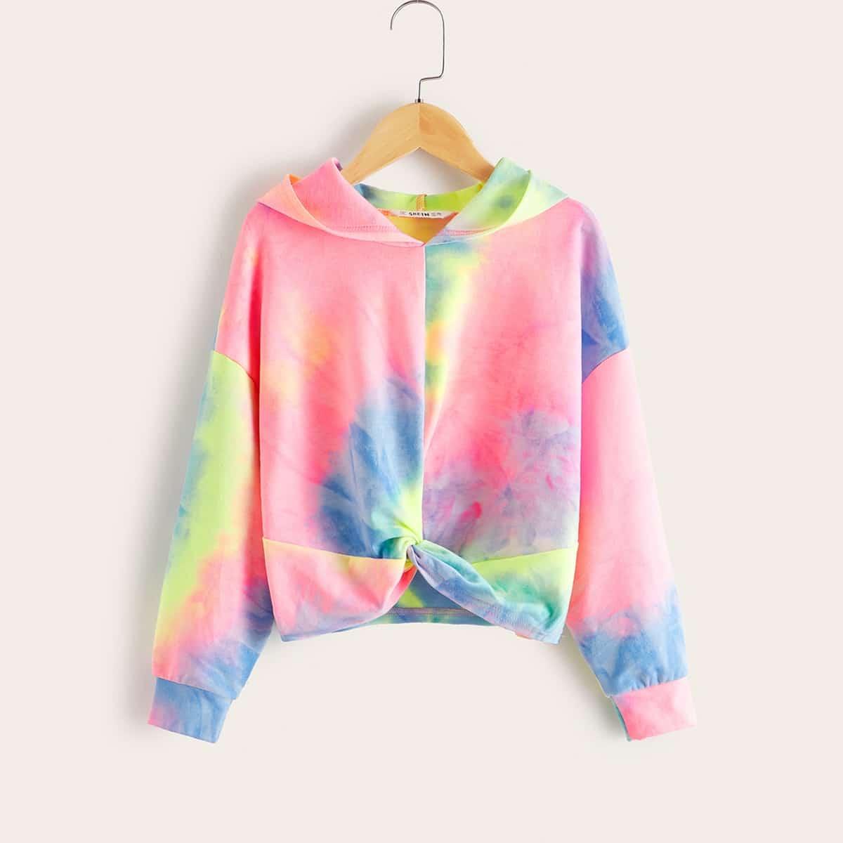 Разноцветная толстовка с драпировкой для девочек от SHEIN