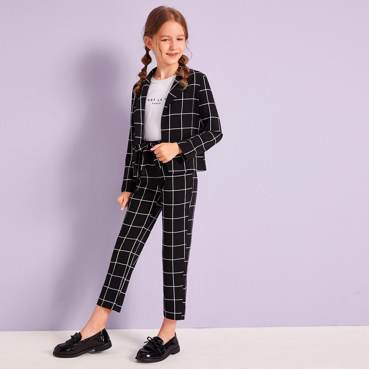 Пиджак в клетку и брюки для девочек от SHEIN
