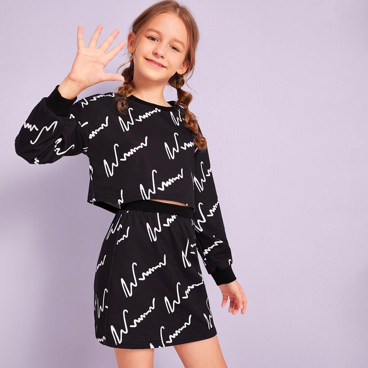 Юбка и пуловер с графическим принтом для девочек от SHEIN