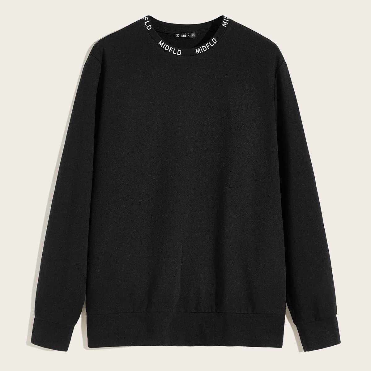 Zwart Casual Tekst Sweatshirts voor heren