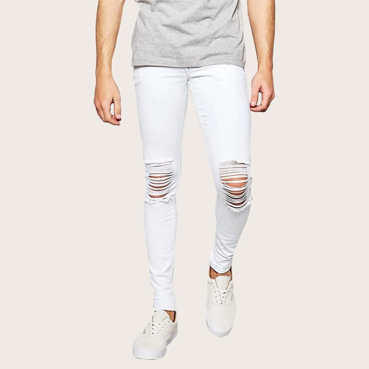 Wit Casual Vlak Heren Jeans Gescheurd