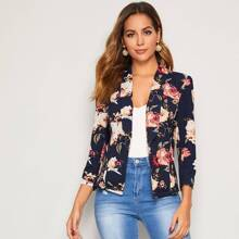 Floral Print Shawl Collar Blazer
