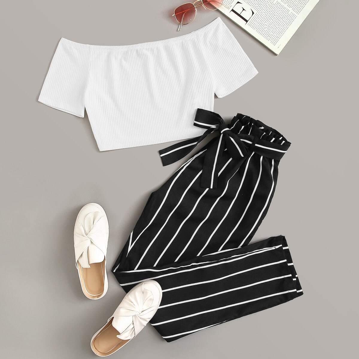 Трикотажный короткий топ и брюки с присборенной талией и поясом от SHEIN