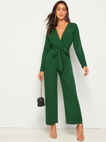 Self Tie Waterfall Neck Wide Leg Jumpsuit