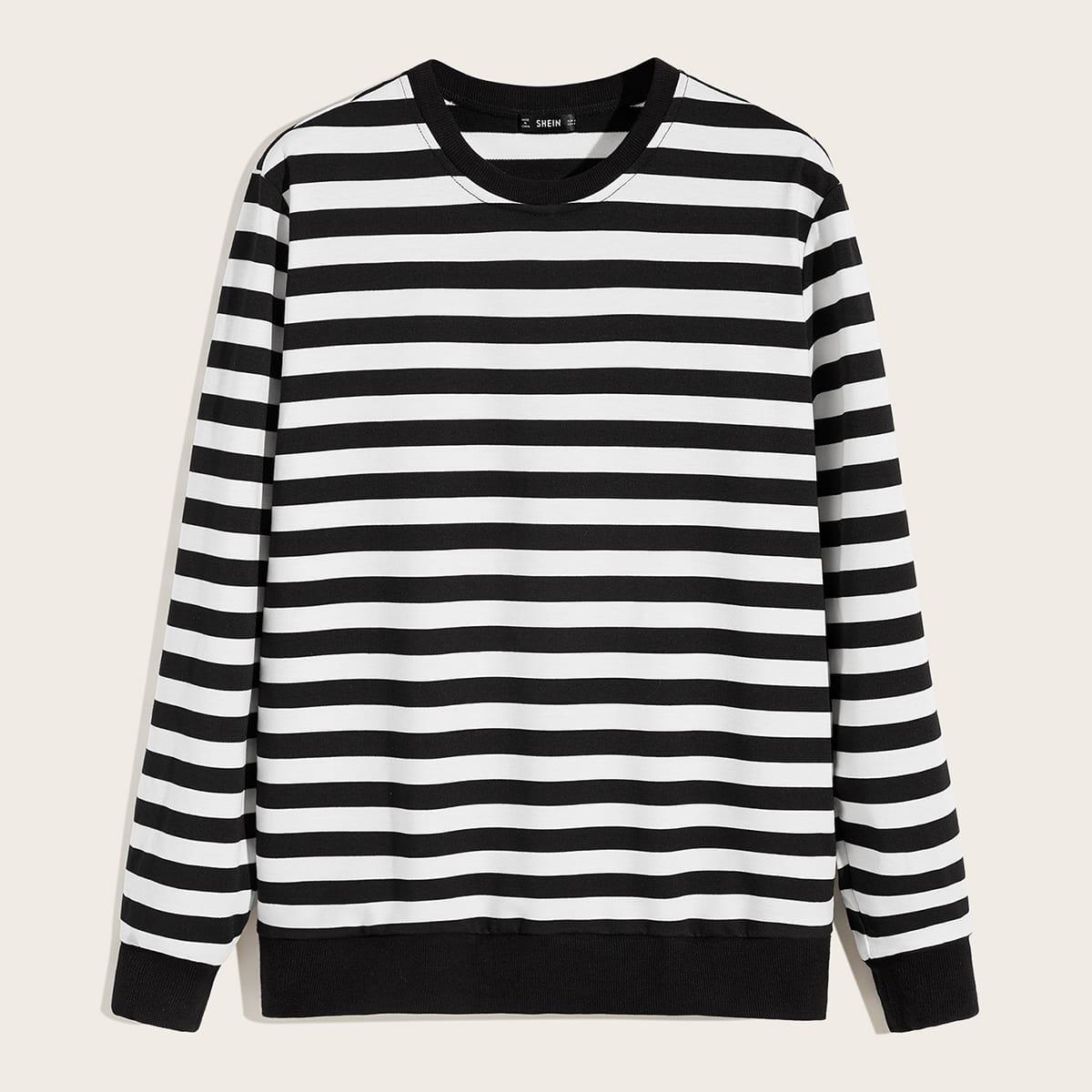 Zwart & wit Casual Gestreept Sweatshirts voor heren