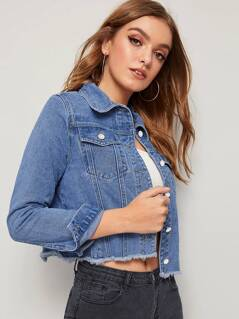 Raw Hem Flap Pocket Denim Jacket