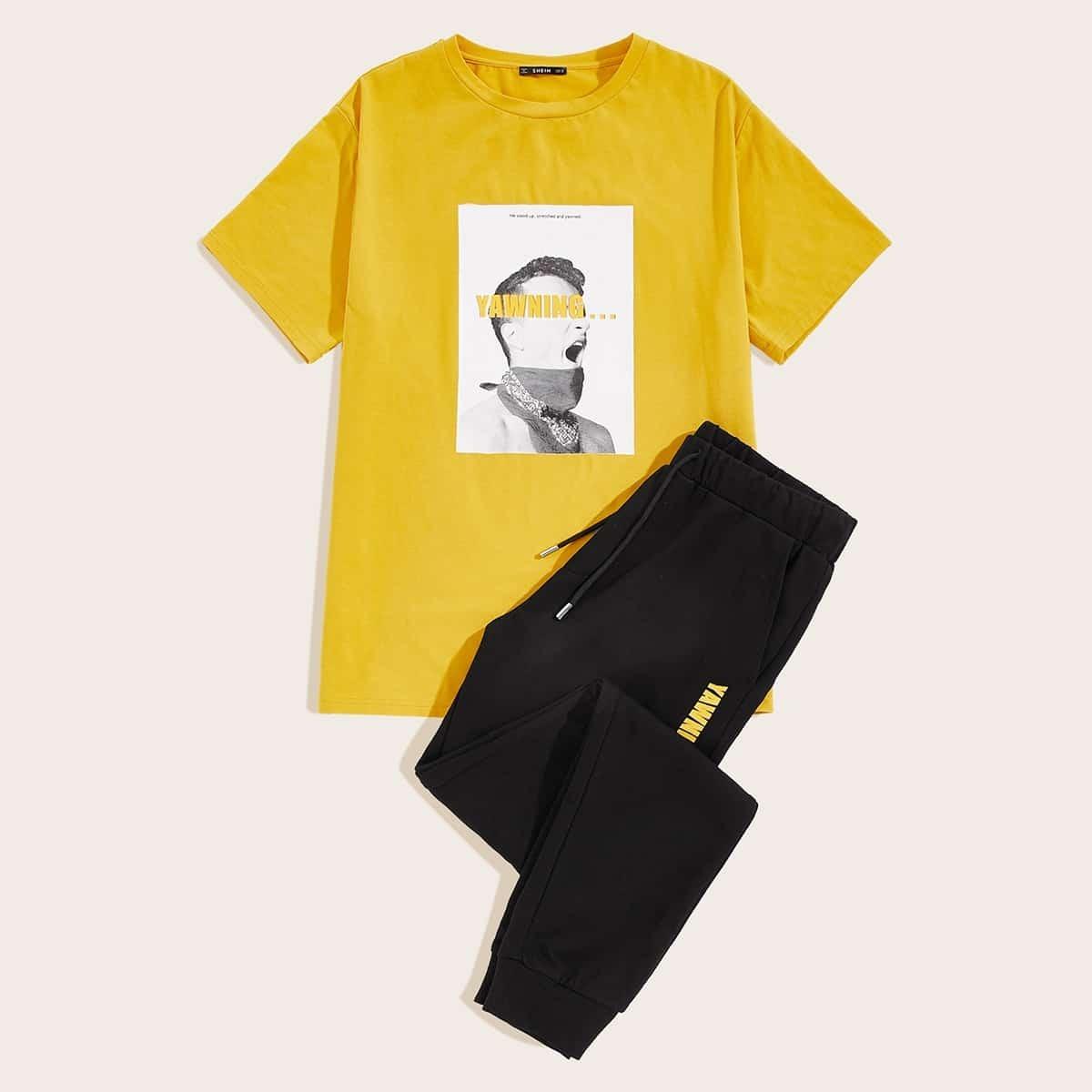 Мужские спортивные брюки и футболка с графическим принтом от SHEIN