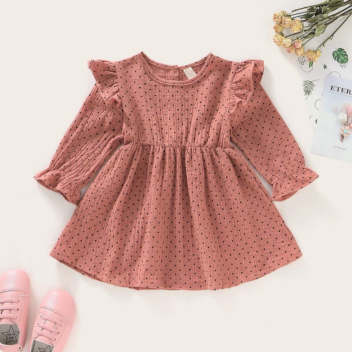 Расклешенное платье в горошек для девочек от SHEIN