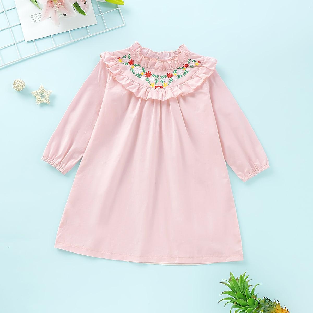 Roze  Boho Kleutermeisjes jurkjes Borduurwerk