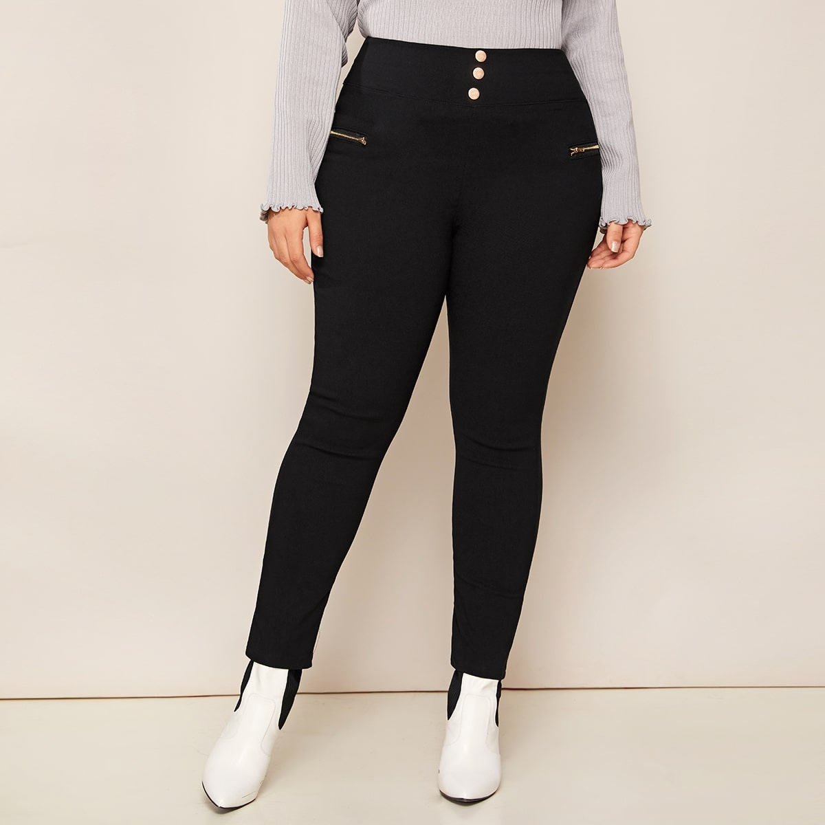 Zwart Casual Vlak Grote maten: jeans Knoop