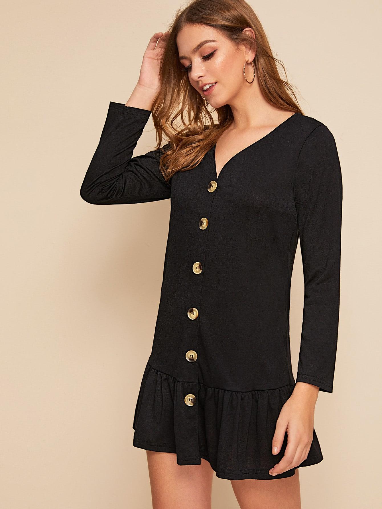 SHEIN / Vestido bajo fruncido con botón