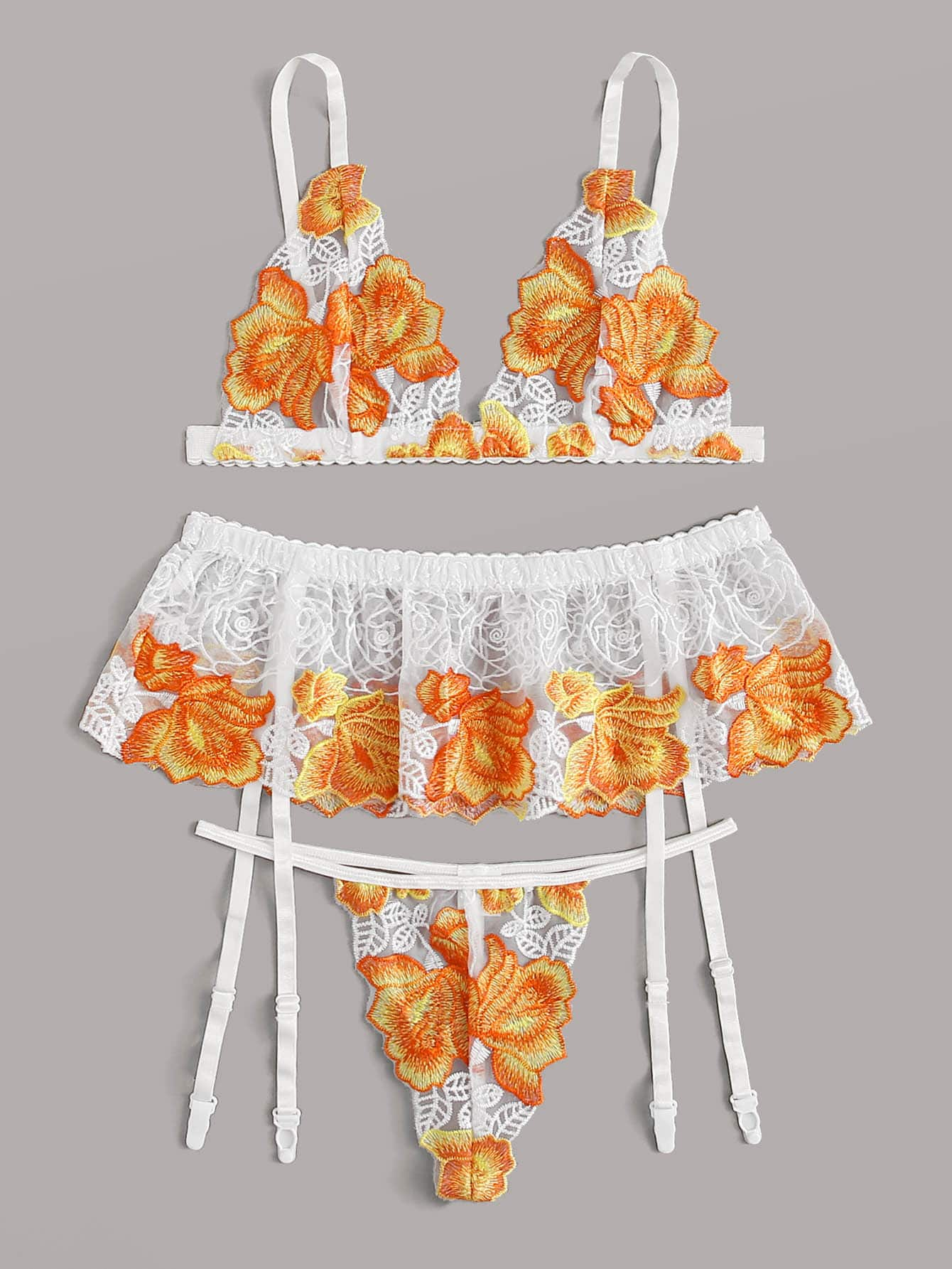 Комплект нижнего белья с цветочной вышивкой и подвязки