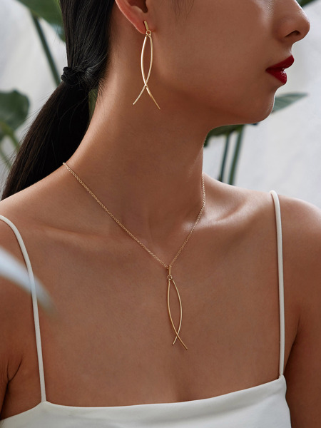 Bar Charm Necklace & Earrings 1pair