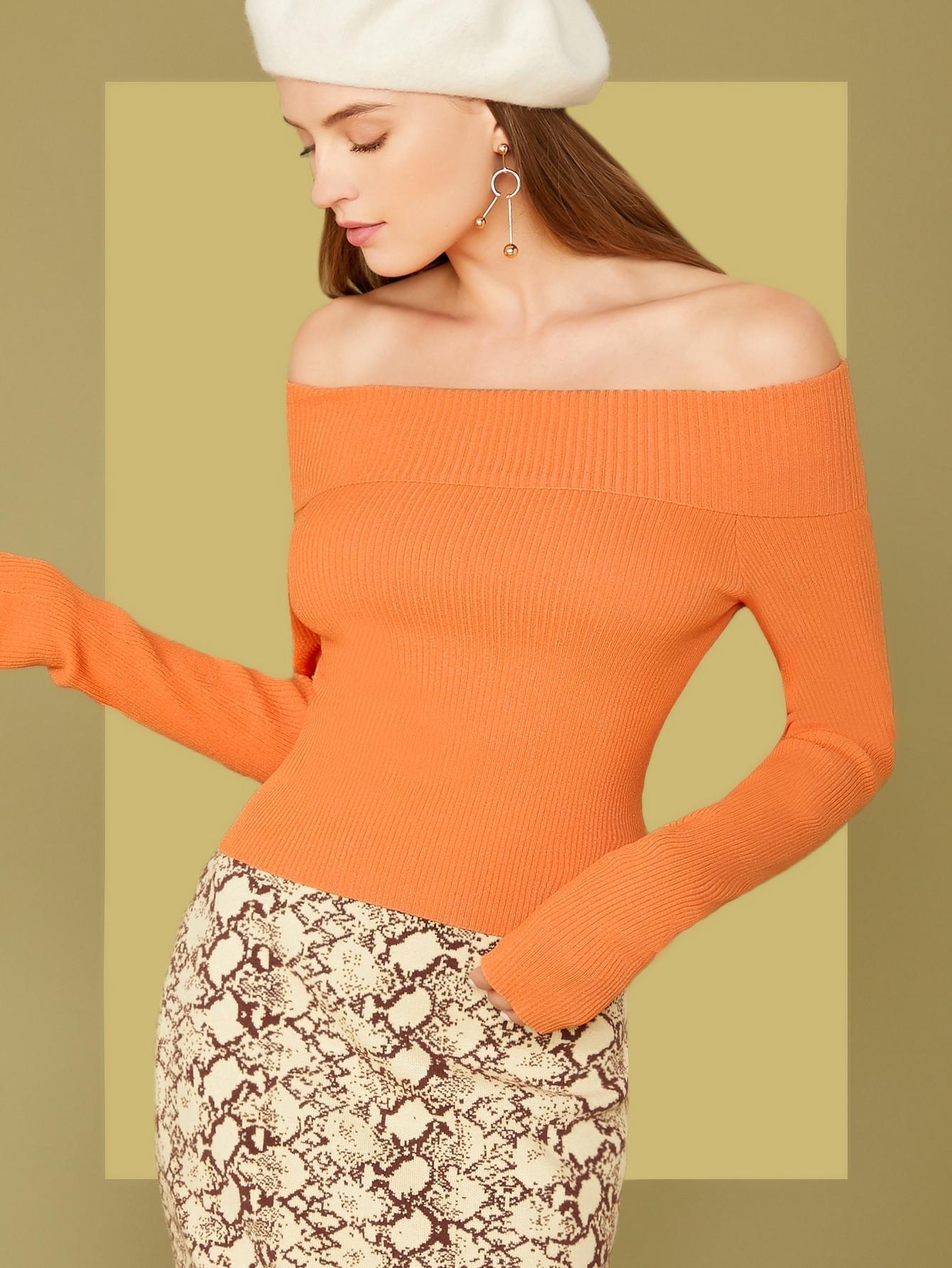 Off Shoulder Foldover Sweater