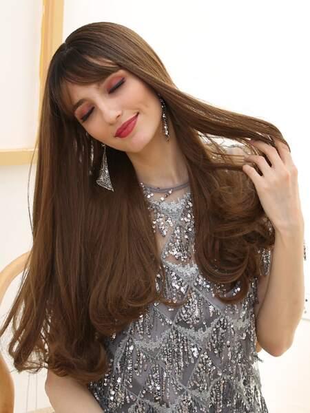 Natural Long Straight Wig With Bangs