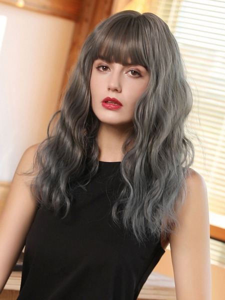 Natural Long Curly Wig With Bangs