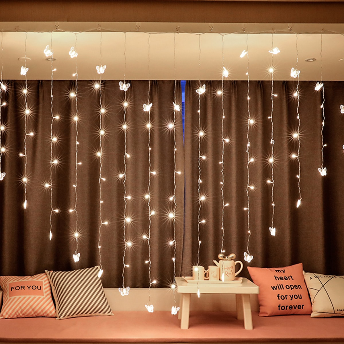 Heart Shaped Butterfly String Curtain Light 2M