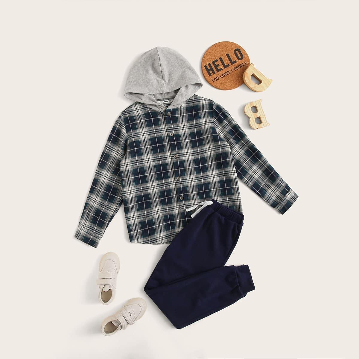 Veel kleurig Sporten Ruitmotief Tweedelige jongens outfits Koord