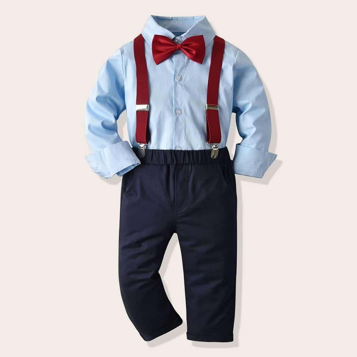 Рубашка с воротником-бантом и брюки с подтяжками для мальчиков от SHEIN
