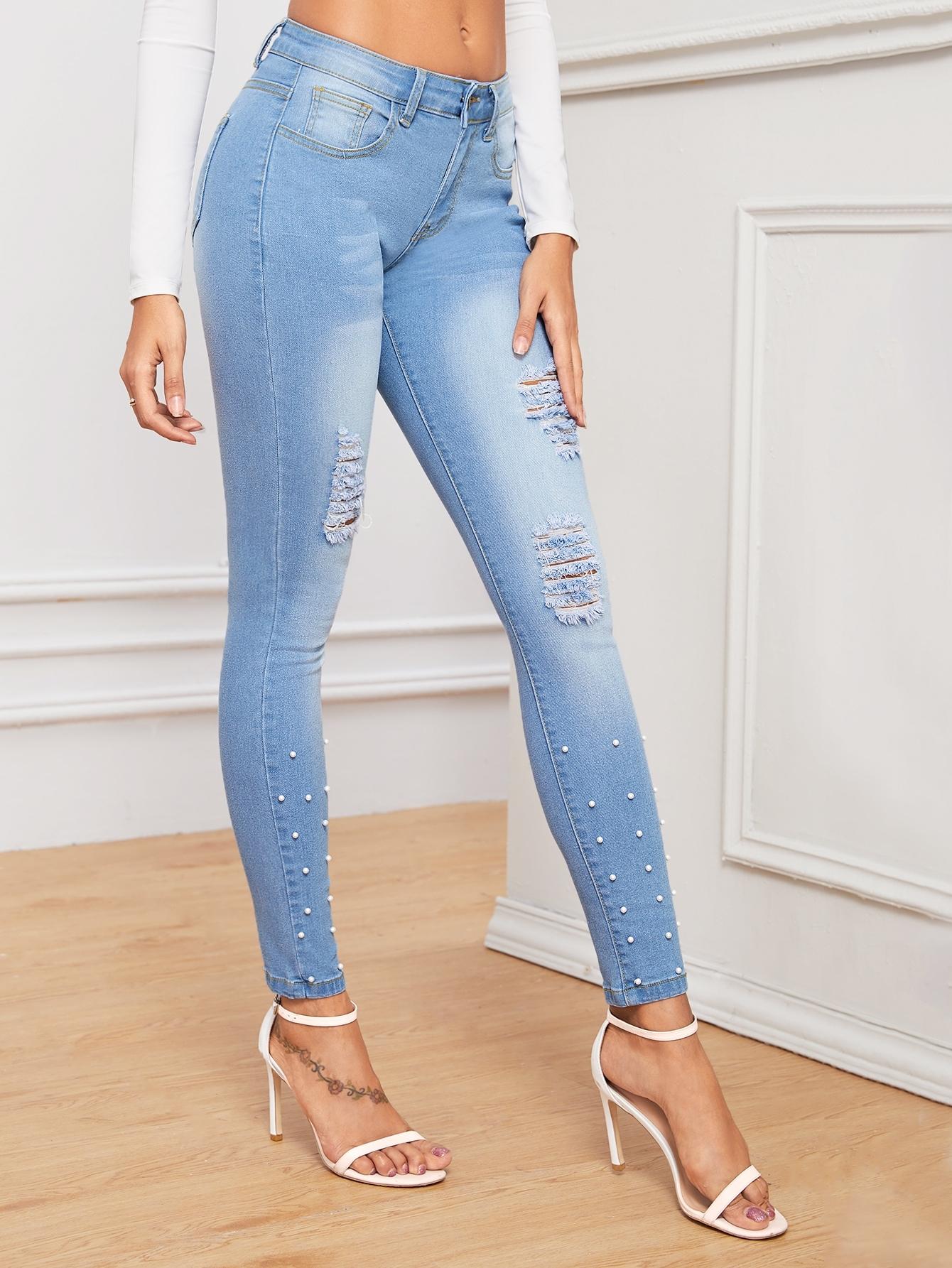 Рваные джинсы с жемчугом