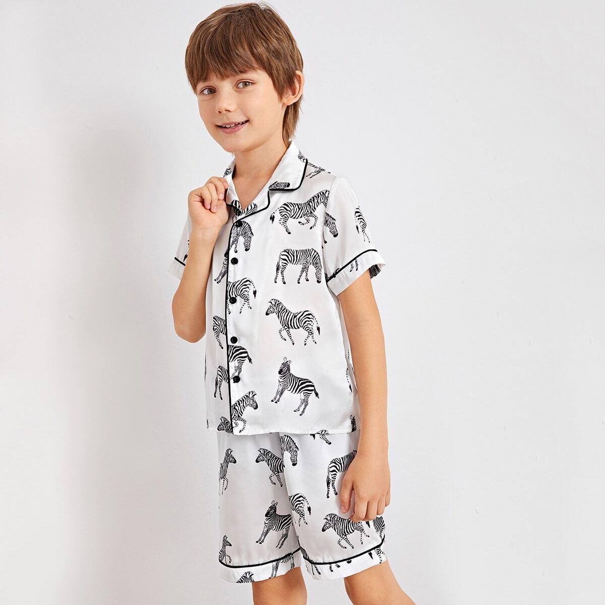 Wit Casual Dieren Jongens Pyjamas Knoop