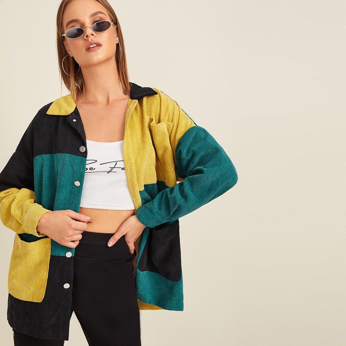 SHEIN / Mantel mit Tasche vorn und Farbblock