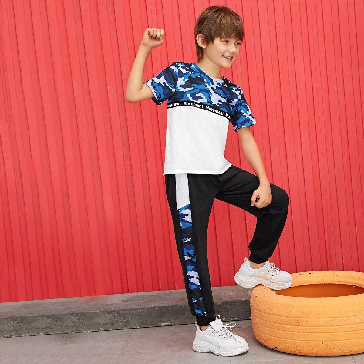 Спортивные брюки и футболка с камуфляжным принтом для мальчиков от SHEIN