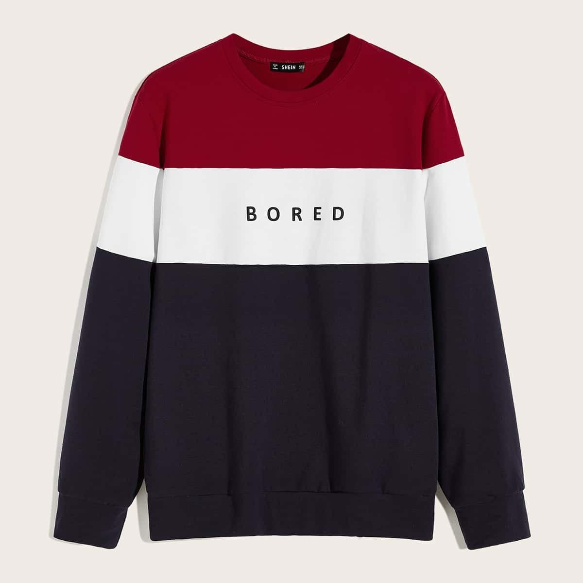 Veel kleurig Casual Kleurblok Tekst Sweatshirts voor heren