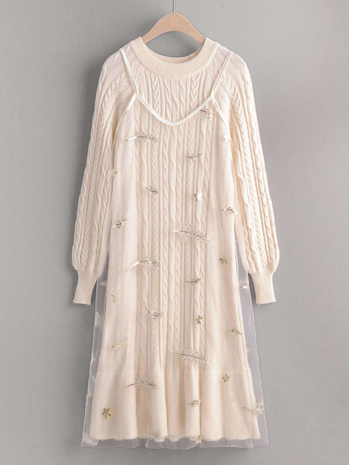 Raglan Sleeve Sweater Dress With Embroidered Mesh Cami Dress